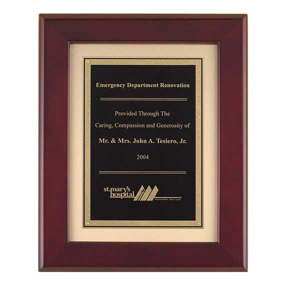 Rosewood Piano Finish Plaque with Florentine Plate