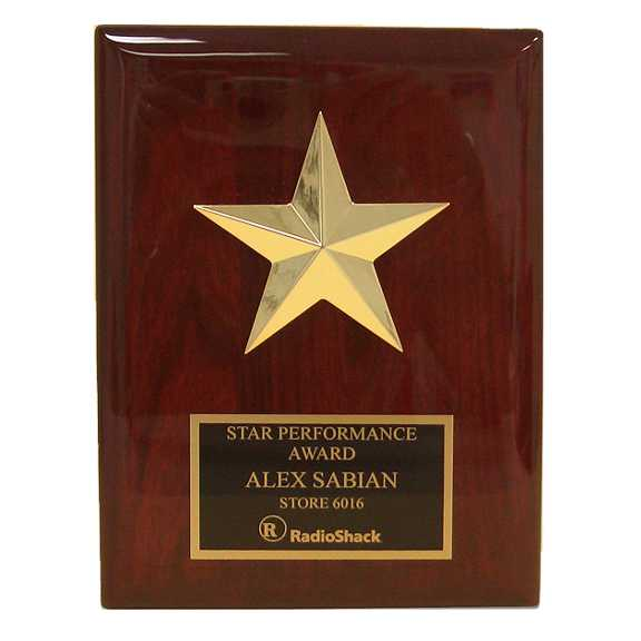 Gold Star Casting on Rosewood Piano Finish Plaque
