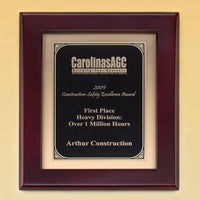 Rosewood Piano Finish Plaque w/ Brass Plate