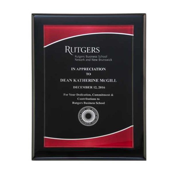 Black Piano Finish Plaque w/ Red Acrylic Plate  - P5080 Series