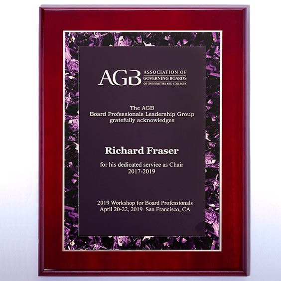 Violet Marble Border Design on Rosewood High Lustr Plaque