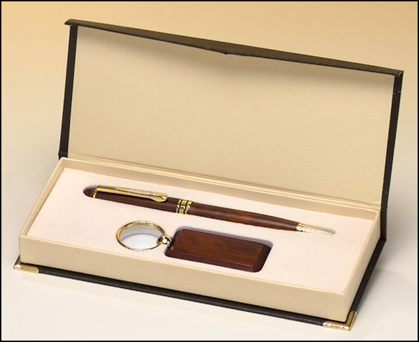 Rosewood-Finish Pen and Key Ring