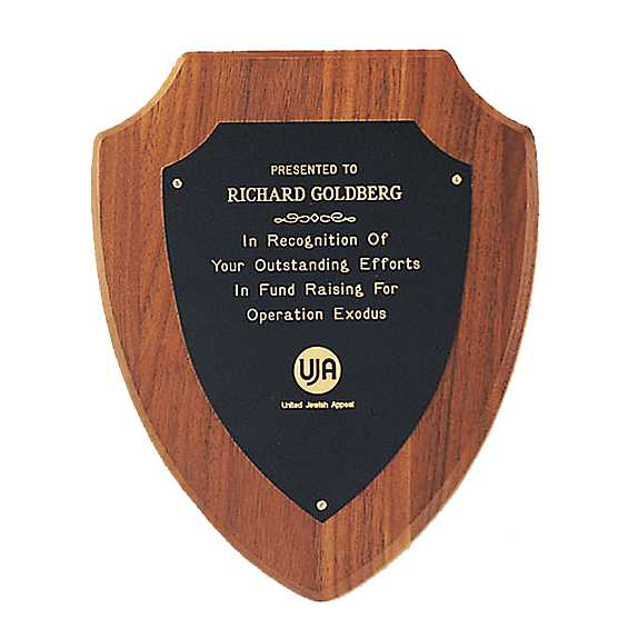 Walnut Shield Plaque with Brass Engraving Plate - P810 Series
