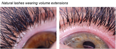 natural lashes wearing volume extensions
