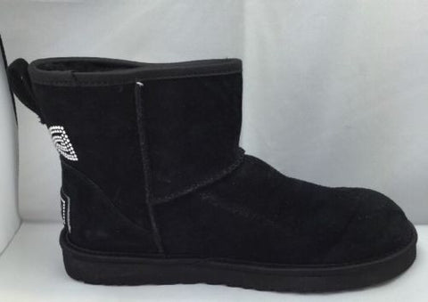 Ugg Women's Classic Mini Crystal Bow Black Suede Women's Boots size 7 A5