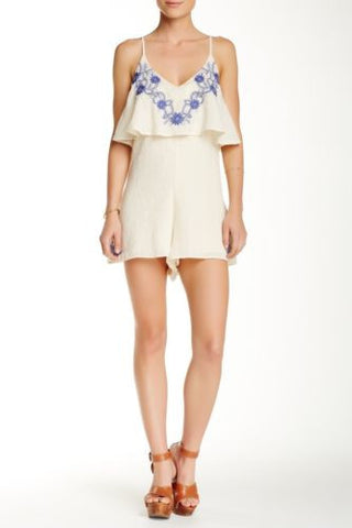 Ooberswank Women's Blue Embroidered Romper Ivory Size Medium $78 J624