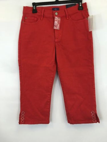 NYDJ Women's Red Straight Leg Cropped Jeans $88 Sz 6 Petite I53