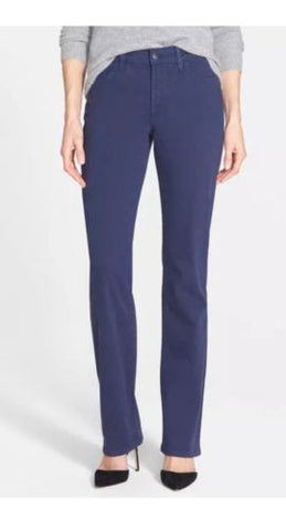 NYDJ Women's Blue Hayley Stretch Twill Straight Jeans $114 Sz 2 IJ