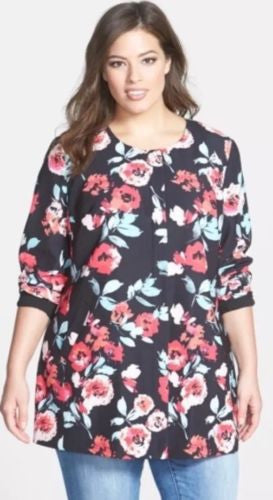 Sejour Women's 100% Polyester Floral Print Twill Topper $149 Sz 22W IJ