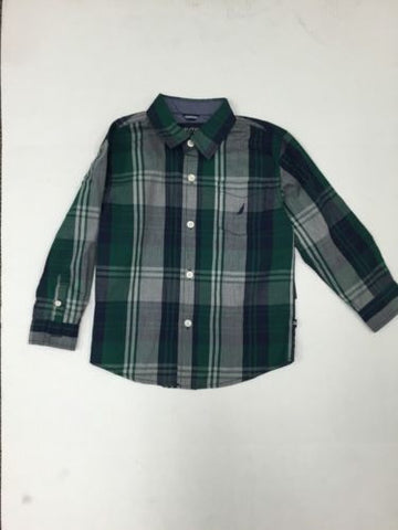 Boy's Nautica Long Sleeve Dress Shirt Hunter Green Plaid SZ 4T K74