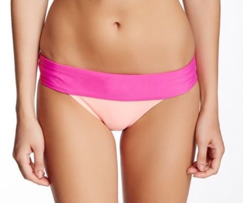 ROXY Women's Pink Colorblock Hipster Swim Bottom Separates L K74