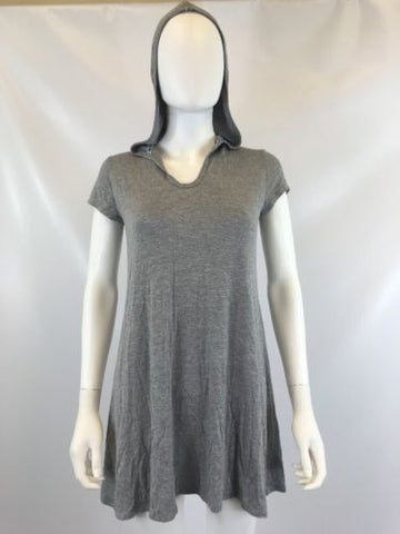 Socialite Women's Gray T-shirt Hooded Dress Sz M I623