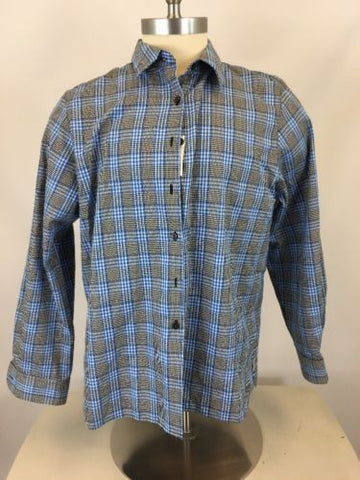 Foxcroft Mens Plaid Wrinkle Free Button Down Shirt Sz 18 *i615