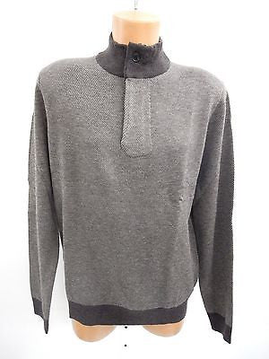 Toscano Long Sleeve Merino Covered Placket Zip Mock Sweater Brown Size L nO3