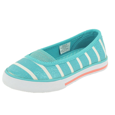 Hanna Andersson Girl's Mimmi 2 Kids Turquoise Striped Slip-On Flats 10 M ns618