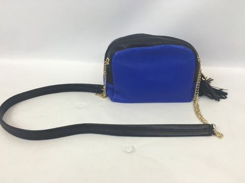 Cynthia Rowley Women's Crossbody Gold Chain Leather Bag Black Blue LD822