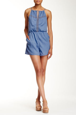 Lush Women's Embroidered Keyhole Romper Denim Size S $68 LD921