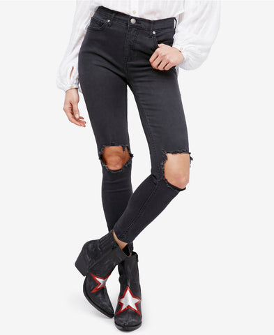 Free People Women's Black Hie Rise 'Busted' Distressed Skinny Jean Size 26