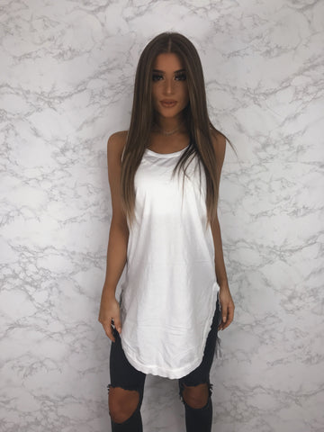 Anthropologie Left Of Center Women's White High Low Tunic Tank Size XS