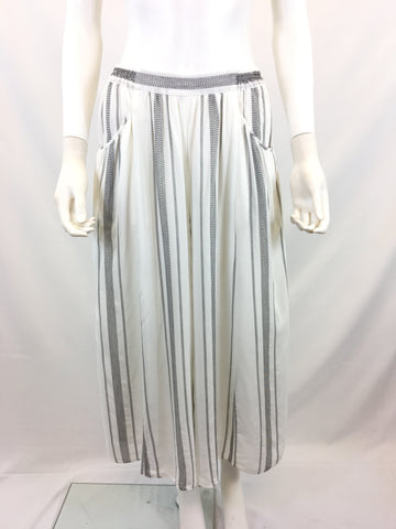 Anthropologie Elevenses Women's White & Black Stripped Wide Leg Pants Size S