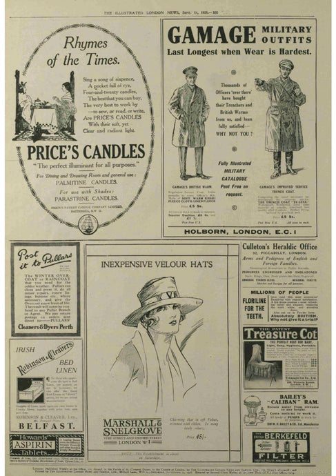 What can we find about candles  in old newspapers