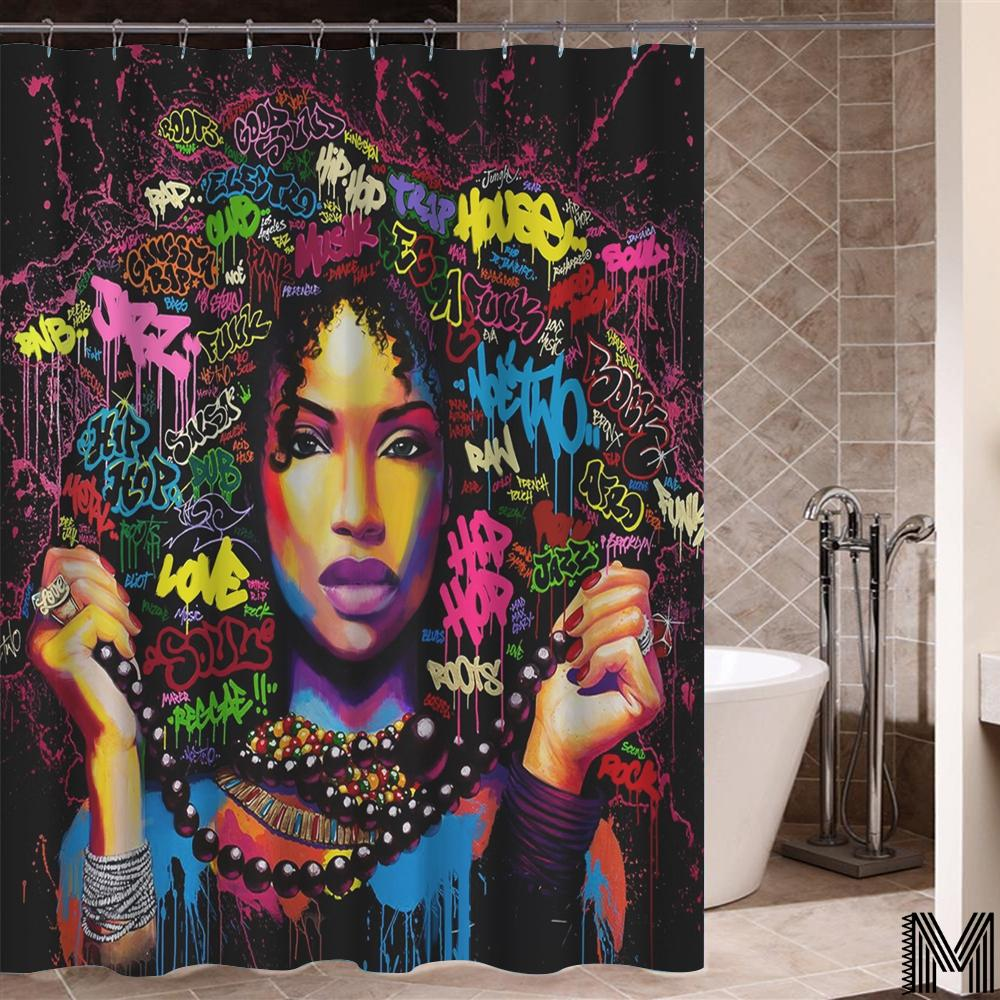 Black & Boujee Shower Curtain
