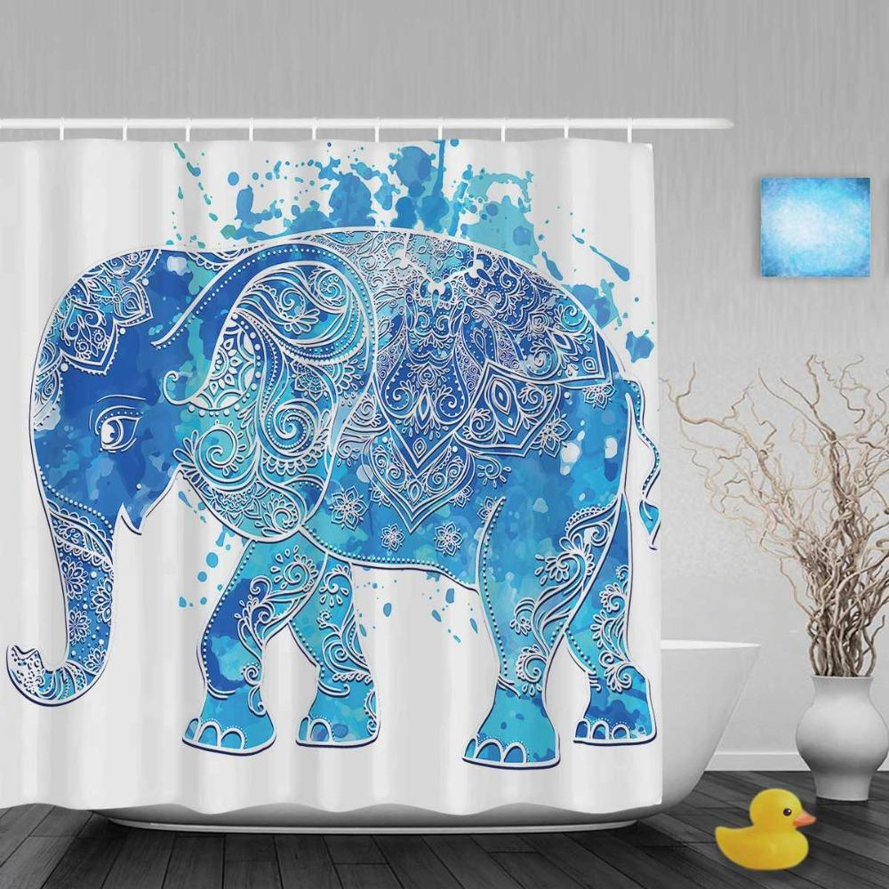 Majestic Blue Elephant Shower Curtain