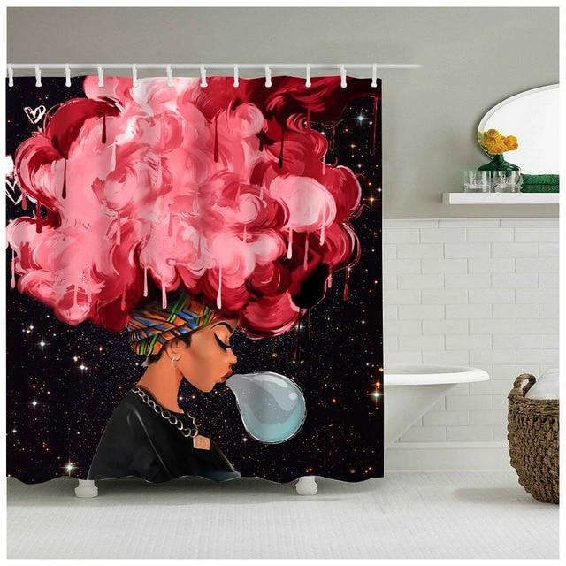 Retro Afro Girl Shower Curtain