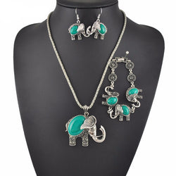 Unique Elephant Bracelet Necklace Earring Set