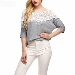 Women Crochet Cape Lace Collar Batwing Sleeve Blouse