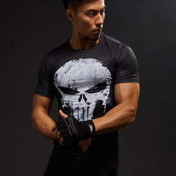 Compression Shirts Men 3D Printed punisher