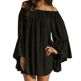 Women Casual Loose Summer Dress Slash Neck Off Shoulder Flare Sleeve