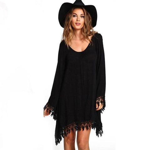 Lace Tassel Vintage Dress Black Long Sleeve