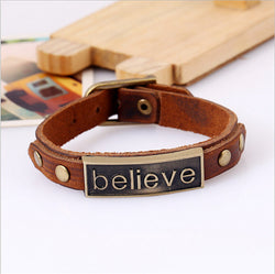 "Punk Style Alloy Leather Bracelet ""believe"""