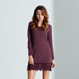 Women Casual Lace Patchwork Sexy Mini Dress Long Sleeve