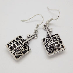 Ethnic Tibetan Silver Color Hollow Antique Rectangle Geometric