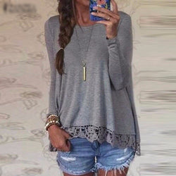 Women Casual Loose Elegant T Shirt Long Sleeve