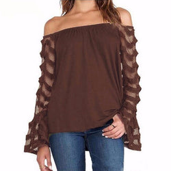 Women Blouses Sexy Off Shoulder Mesh Long Sleeve