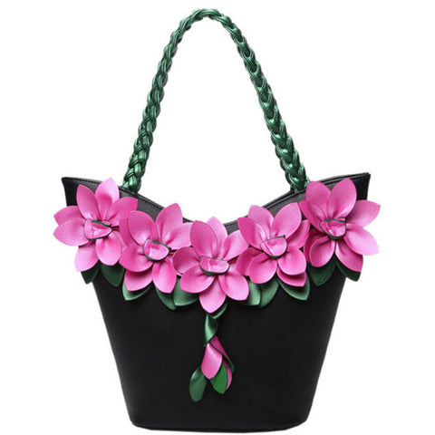 women tote designer bag leather handbag flower pouch vintage purse