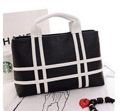 black and white pu leather crocodile pattern