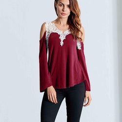 Casual Cotton Sexy Off Shoulder V Neck