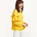 Layered Ruffle Sleeve Blouses Polka Dot Embossed
