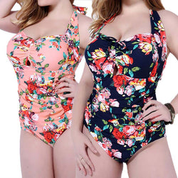 Sexy One Piece Floral Print High Waist Halter Swimsuit