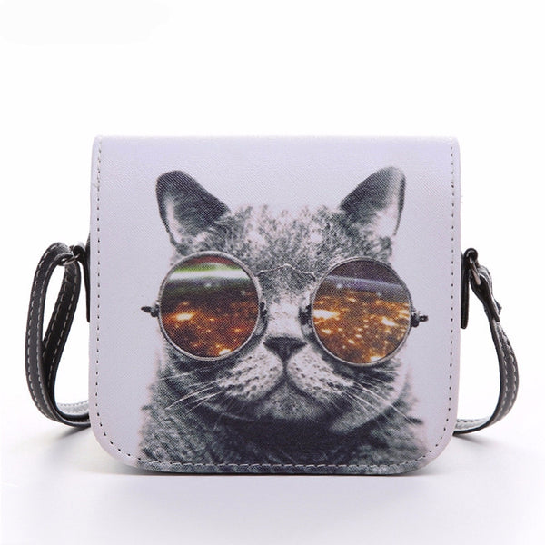 Leather Cat Wearing Glasses Print bag