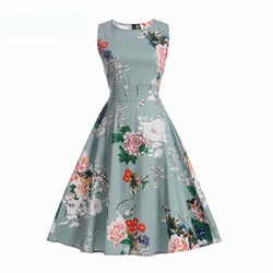 Vintage Dress Elegant Floral Print Sleeveless