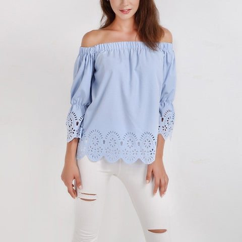 Women Blouses Solid Off Shoulder Slash Neck 3/4 Sleeve