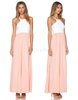 High Quality White Pink Long Dress