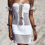 Handmade crochet knitted dress beach lace up