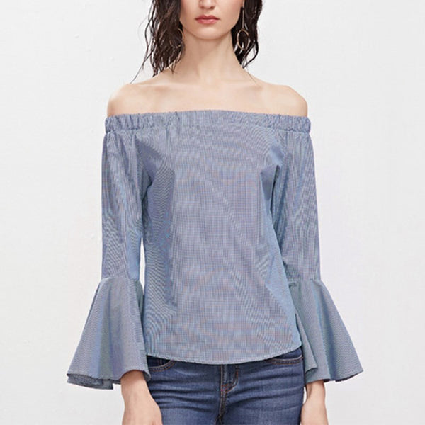 Blouse Off the Shoulder Blue