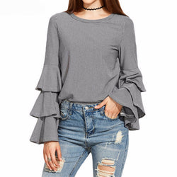 Striped Shirt Elegant Flounce Long Sleeve blouse